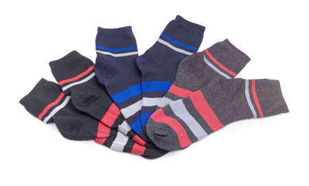 Different black mens socks with stripes on a white background