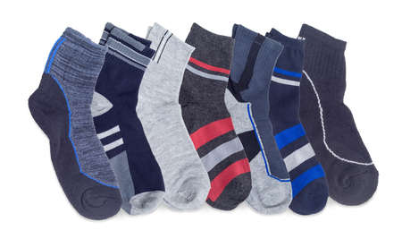 Several different pairs of the mens everyday socks, thermal socks and crew socks on a white background