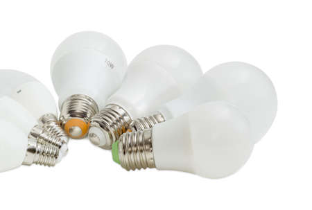 Fragment of a group of the several different domestic light emitting diode lamp with various size of a screw base on a white background Stock Photo