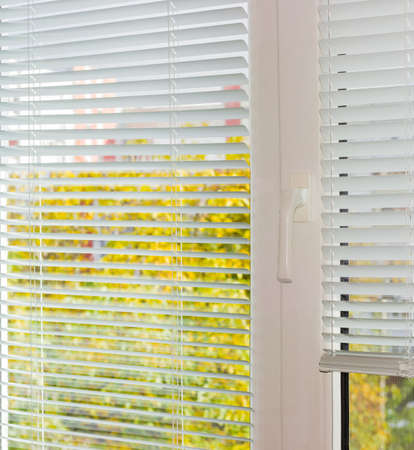 Fragment of the modern plastic window with white Venetian blinds and blurred view of the autumn trees and house across slats of a window blind