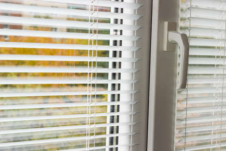 Fragment of the modern plastic window with white Venetian blinds and blurred view of the autumn trees across slats of a window blind