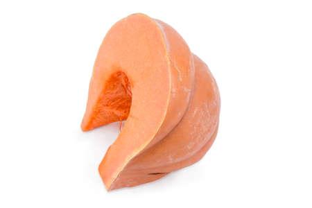 cinderella: Piece of the orange pumpkin on a white background