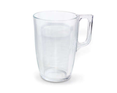 Empty transparent glass cup with handle closeup on a white background