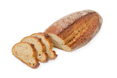 Partly sliced oval loaf of the wheat and rye bread with added whole sprouted wheat grains, rye malt and molasses on a white background