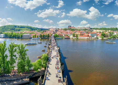 Charles Bridge over the river Vltava and the Lesser Town in springtime. View from the Old Town Bridge Tower, Prague