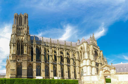 Cathedral Notre-Dame de Reims built in the 13th century. View of the south eastern facade, France