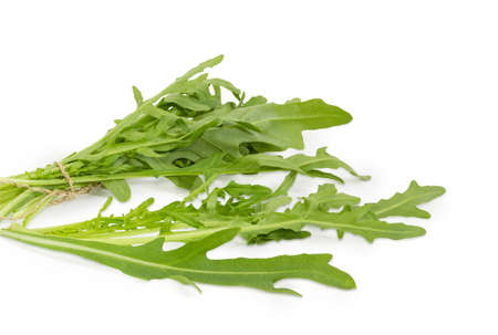 Several leaves and bundle of the fresh arugula tied with twine closeup on a white background Stock Photo