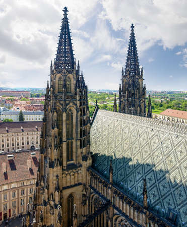 Two towers of a west facade of the Cathedral of St. Vitus built in the 14th century. View from main tower of the cathedral, Prague, Czech Republic