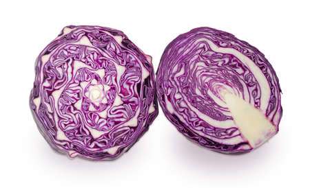 Transverse and longitudinal section of the red cabbage heads on a white background