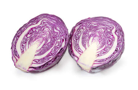 Two halves of the red cabbage head cut along on a white background