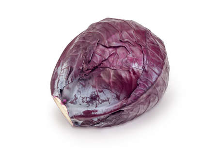 One whole head of the red cabbage on a white background