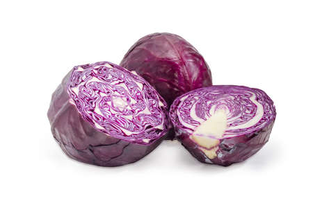 Two halves of the red cabbage head with cut along and cut across and whole cabbage on a white background