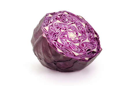 Half of the red cabbage head cut across on a white background