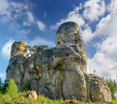 Group of sandstone rocks in reserve Bohemian Paradise, Czech Republic  Stock Photo