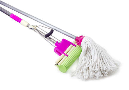 Part of the classic mop with cotton head and plastic sponge mop with mounting clamp and green sponge on metal tubular handles on a white background