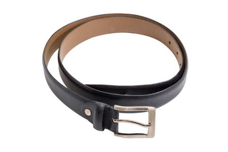 Casual black leather belt for men with classical buckle with square frame and prong on a white background
