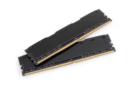 Two DDR4 SDRAM memory modules used in the desktop computers, workstations and servers on a white background