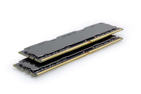 Two DDR4 SDRAM memory modules used in the desktop computers, workstations and servers at selective focus on a white background