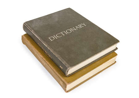 Two volumes of large old hardback dictionary with cloth cover on a white background
