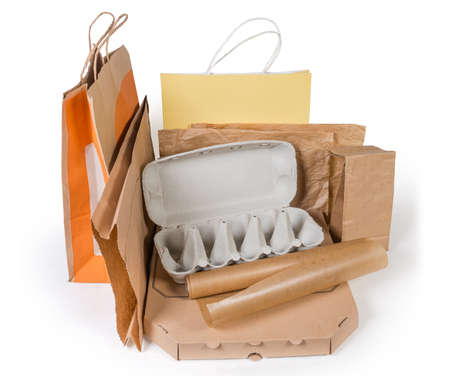 Different brown paper food packaging, carton box, other packing for various foods and shopping bags without plastic on a white background Stock Photo - 116290968