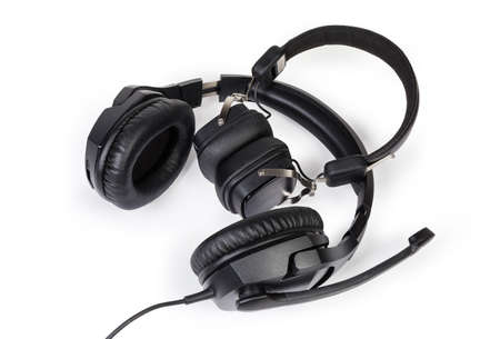 Wired high-fidelity headset with full size headphones and wireless ear speakers on a white background