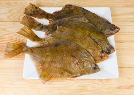 Several uncooked plaices also known as flatfish on white square dish on a wooden rustic table Banque d'images