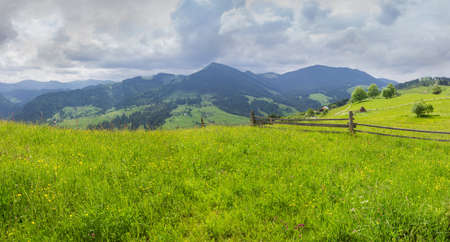 Carpathian landscape. Fenced hayfields on a foreground, distant mountain ranges on a background of cloudy sky. Panoramic view, Carpathian Mountains