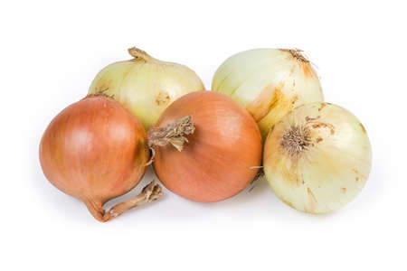 Young bulb onions and dry onions from last year's harvest on a white background