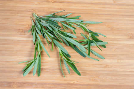 Several stems of the fresh rosemary, also known as anthos on a bamboo wooden surface