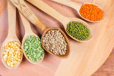 Various raw legumes - yellow and green split peas, red and brown lentils and mung beans in the wooden spoons on wooden surface, fragment close-up, top view