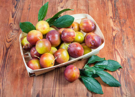 Fresh ripe plums with twigs of plum tree with leaves in small wooden basket on the old wooden rustic table, top view