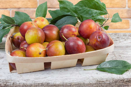 Fresh ripe plums with twigs of plum tree with leaves in small wooden basket on the old cracked wooden surface Zdjęcie Seryjne