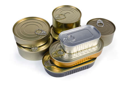 Set of canned fish and seafoods in various types of sealed tin cans with easy pull open tops on a white background 스톡 콘텐츠