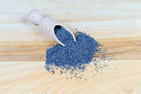 Edible blue poppy seeds in the special wooden spice spoon and scattered beside her on the wooden surface