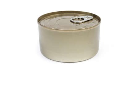 Canned fish in sealed round tin can with easy openable lid on a white background