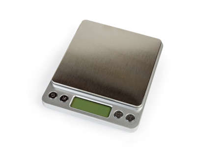 Professional high precision digital table top scales with LCD display on a white background