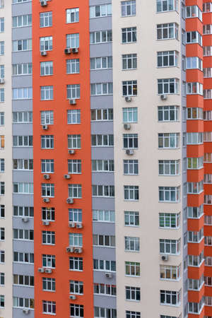 Typical modern multistory apartment building, facade fragment, background 스톡 콘텐츠 - 139811920