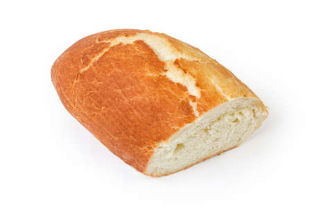 Half of oval loaf of wheat bread on a white background  스톡 콘텐츠