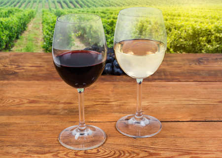 Two glasses of red and white wine standing on the old rustic table on a blurred background of vineyard in selective focus