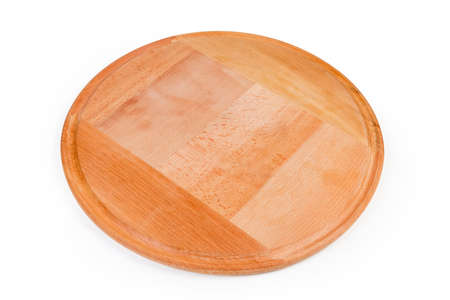 Empty big round pizza board with groove made with natural glued beech wood on a white background