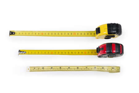 Two metal self-retracting tape measures with flexible metal rulers with metric scales and plastic caseless tape measure with dual inch-centimeter scale on a white background