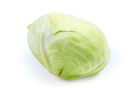 Whole head of the late white cabbage, intended for winter storage close-up on a white background
