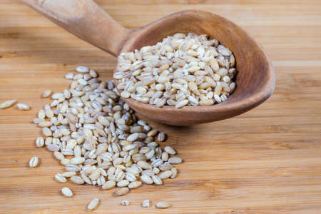Raw pearl barley in the wooden spoon and scattered beside on a wooden surface close-up in selective focus