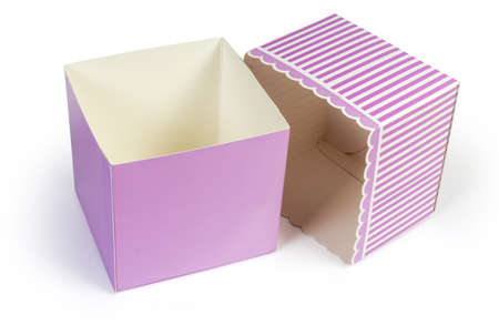 Empty small pink rectangular cardboard gift box with open striped lid on a white background