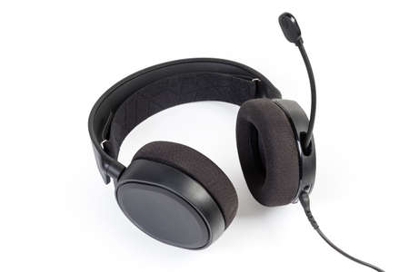Black wired high-fidelity headset with full size headphones and microphone on a white background