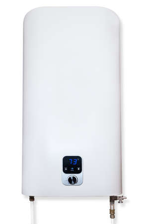 Household electric storage water heater with regulator and indicator of temperature connected to pipelines and located vertically on a white background