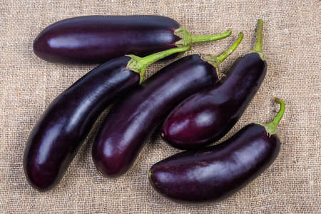 Raw harvested purple eggplants laid out on the burlap, top view Standard-Bild