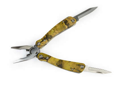 Multi-tool with folding mechanism in balisong-style and open pliers and two different knives on a white background, top view Archivio Fotografico