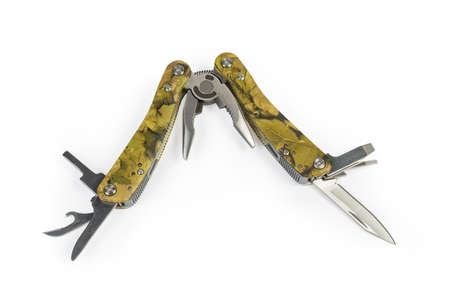 Multi-tool with folding mechanism in balisong-style, partly open several tools on a white background