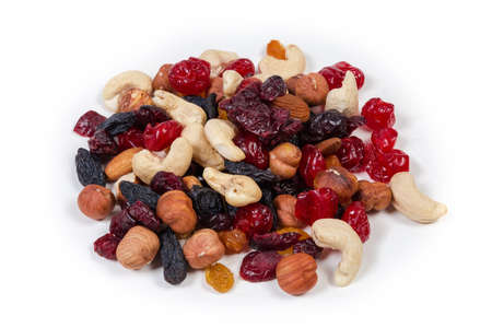 Small pile of mix of different nuts, dried fruits and berries on a white background 版權商用圖片